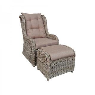 Кресло из ротанга с подставкой для ног Kvimol KM-2000