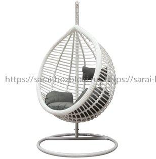 Подвесное кресло КМ-0021 средняя корзина белое подушки коричневые