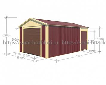 Гараж сборный ширина 4 длина 6 высота 2,9 рольставни и дверь