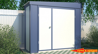 Дровник Эконом с односкатной крышей ширина 2,4 глубина 1 дверь 180