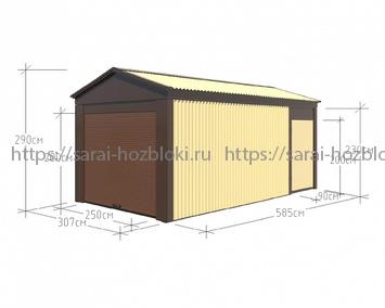 Гараж сборный ширина 3 длина 6 высота 2,9 рольставни и дверь
