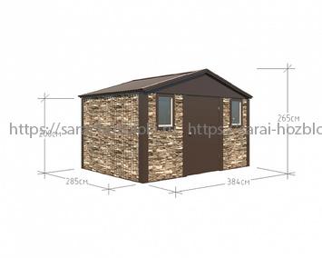 Хозблок Премиум 3,84х2,85 дверь 120 коричневый