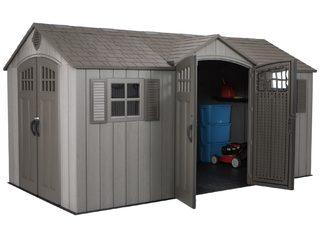 Сарай-гараж WoodLook 15'x8' пластиковый Внутренний размер, см: 434(ш)*230(г)*181-235(в)